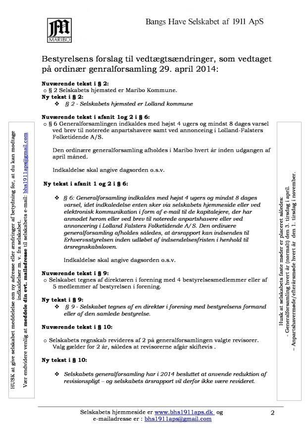 Vedtægtsændringer 2014