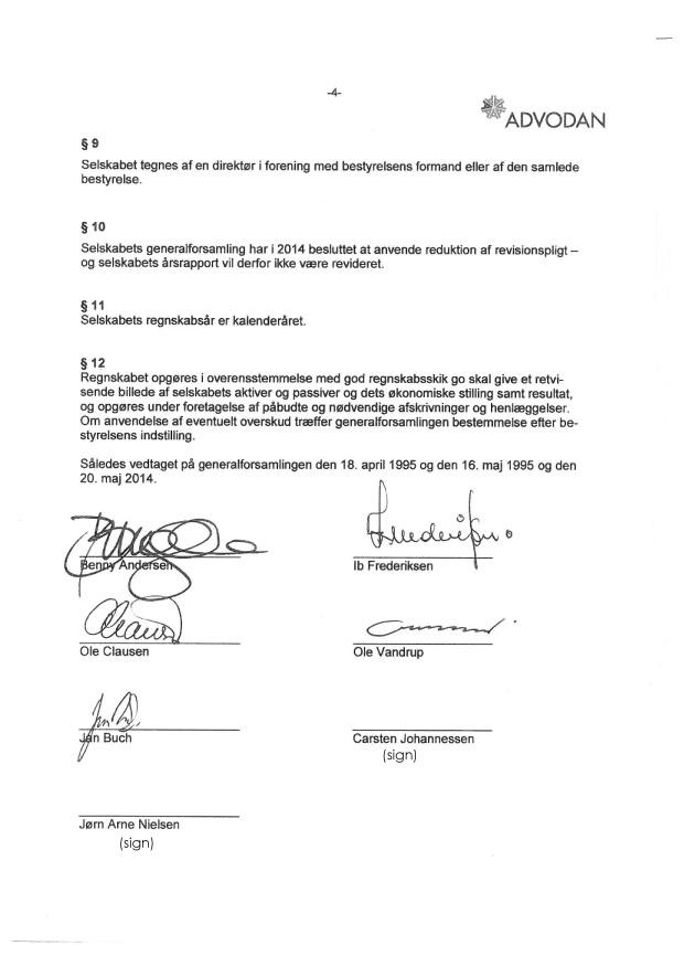 Vedtægter Bangs Have Selskabet af 1911 ApS CVR 24041018 - sign 2014-4