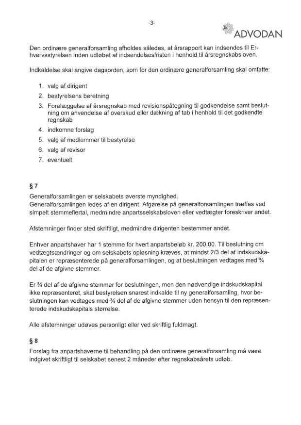 Vedtægter Bangs Have Selskabet af 1911 ApS CVR 24041018 - sign 3-2014